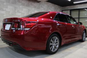 トヨタ クラウン 紅リッチレッドクリスタルシャインガラスフレーク リアバンパー1